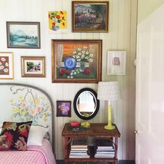 Put up a few of my grandmother's old paintings in our guest room this morning. No tape measure. Just finger placement. My 5 year old was chief hammer and nail passer and we listened and sung along to an old Harry Belafonte record we salvaged from Grandma's yesterday. Such fun.