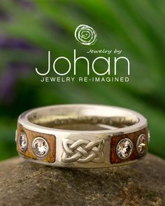 Jewelry by Johan's wedding bands can be customized with unique inlay materials or gemstones. #JewelrybyJohan Celtic Rings, Celtic Knot, Wood Engagement Ring, Renaissance Jewelry, Wood Rings, Wedding In The Woods, White Gold Rings, Wedding Bands, Rings For Men