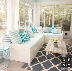 Teal, Gray & White Sunroom. Beach Cottage | Daily Digs