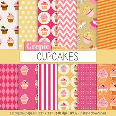 "Digital paper cupcakes: ""Cupcakes"" with cupcake patterns for scrapbooking, invites, cards"
