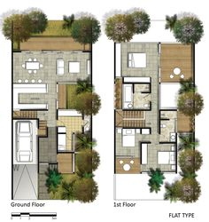 Projects by Fajar Aditya at Narrow House Plans, Modern House Plans, House Floor Plans, Architectural Floor Plans, Villa Plan, Townhouse Designs, Courtyard House, Small House Design, Architecture Plan