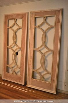 sliding barn door style french doors - adding trim to the door 3 - July 21 2019 at Cabinet Trim, Cabinet Doors, Small Cabinet, Do It Yourself Furniture, Do It Yourself Home, The Doors, Sliding Doors, Entry Doors, Interior Barn Doors