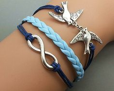 Yup, pretty sure I'm buying this.     Silver Birds  & Infinity wish  Bracelet  Navy Ropes by Haoyou, $3.99