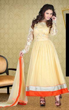USD 87.47 Cream Resham Work Anarkali Salwar Suit  34111