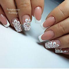 Clear Nail Enamel with White Scallop Nail Designs Manicure Nail Designs, Nail Manicure, Nail Art Designs, Lace Nails, Pink Nails, Lace Nail Art, Bride Nails, Wedding Nails, Beautiful Nail Designs
