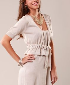 Look at this Peruvian Atelier Beige Pima Paulina Shrug on #zulily today!