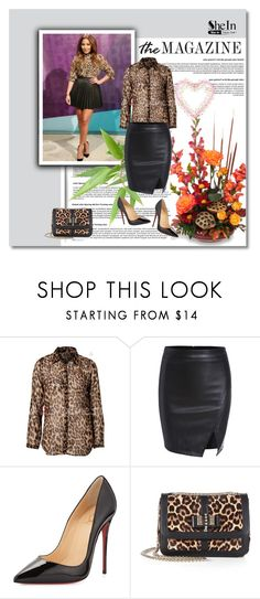 """""""Shein black skirt !"""" by narci-283 ❤ liked on Polyvore featuring Christian Louboutin, Sheinside and shein"""