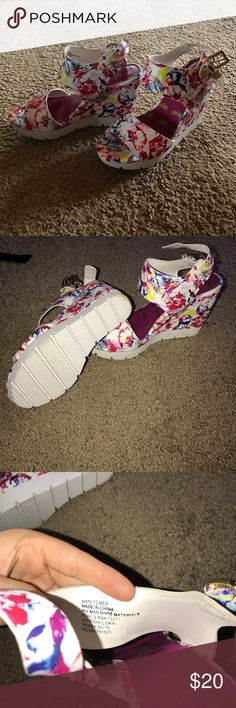Juicy Couture Wedges Floral Juicy Couture wedges.  Worn once.  Excellent condition.  Open to offers. Juicy Couture Shoes Wedges
