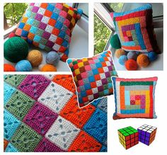 Crochet Pillow Patterns Part 7 - Beautiful Crochet Patterns and Knitting Patterns Crochet Pillow Pattern, Crochet Motifs, Crochet Cushions, Crochet Diagram, Crochet Squares, Crochet Baby Beanie, Baby Knitting, Doily Patterns, Yarn Crafts
