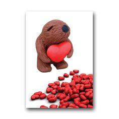 Squidgeme bear heart pile card