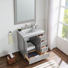 Grey Bathroom Vanity, Small Bathroom Vanities, Bathroom Renos, Vanity Set, Sinks For Small Bathrooms, Master Bathrooms, Bathroom Vanity Designs, Gray Vanity, Small Bathroom Layout