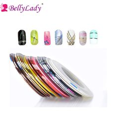 BellyLady Sliver/Gold Striping Tape Line Nail Art Tips Decoration Sticker Nail 32pcs/set DIY Nail Rolls Striping Tape Line #Affiliate