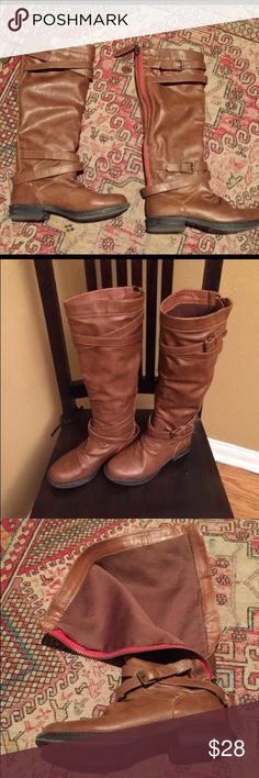 Knee High Vegan Faux Leather Boots Get ready for fall with these cute knee high cognac colored vegan leather boots. Very soft and comfy! Tiny black mark on heels. See pix 4. Shoes Winter & Rain Boots