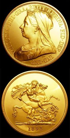 1893 Queen Victoria £5 gold proof Old Veiled Bust.  This coin celebrates the Queen's Jubilee, weighs 40 grams, features milled edging and has Pistrucci's George and the Dragon on the reverse.