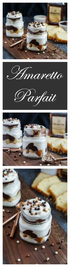 Celebrate the New Year with these Amaretto-spiked parfaits! Cubes of vanilla pound cake are layered with Amaretto Whipped Cream, Chocolate Ganache, and drizzles of more Amaretto for a decadent and …