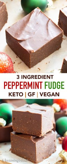 3 Ingredient Low Carb Peppermint Chocolate Fudge (Keto, Vegan) - Beaming Baker and Drink 3 ingredients 3 Ingredient Low Carb Peppermint Chocolate Fudge (Keto, Vegan) - Beaming Baker Keto Cookies, Peppermint Fudge, Peppermint Chocolate, Fudge Recipes, Dessert Recipes, Cheap Recipes, Best Fudge Recipe, Candy Recipes, Quick Recipes