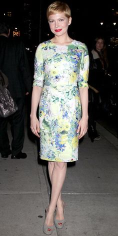 Michelle Williams stopped by the Ed Sullivan Theater in a floral Erdem sheath and gray slingbacks.