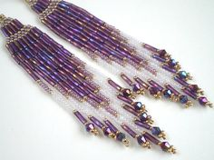 Long Sexy Amethyst AB Earrings  Brick Stitch by misschicboutique, $23.00