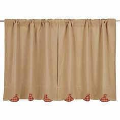 "Burlap Red Check Scalloped Tier Curtains 36""  Scalloped tier curtains measure 36x36"" (total of 72"" wide) Come in a set of 2 Each curtain has a 2"" header and a 3 1/4"" rod pocket Made from 100% cotton"