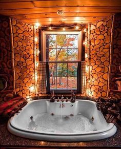 Very rustic view inside and out for this jacuzzi tub