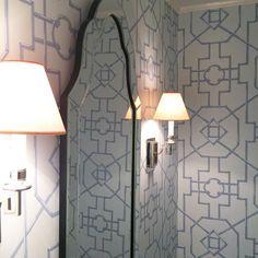 Sconces in. It's a wrap! #visualcomfort #thibaut #powderroom #bathroom #lucywilliamsinteriors