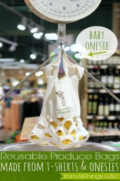 Save those outgrown onesies and no longer used t-shirts and make Reusable Produce Bags
