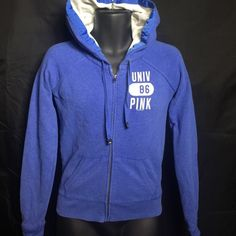 Victoria's Secret Love Pink Blue Jacket Sz XS Cute Love Pink jacket in good shape with no visible stains or holes. It has a cute saying on the back of the jacket shown in pics. Victoria's Secret Jackets & Coats