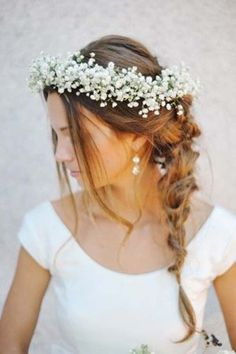 Wedding Hair Inspiration: 32 Fresh & Feminine Bridal Braids Check out some of the extensions on our page, we'd love to hear your feedback! We've got a summer discount happening for off! Babys Breath Crown, Baby Breath Flower Crown, Babys Breath Flowers, Crown Flower, Bride With Flower Crown, Simple Flower Crown, Babys Breath Hair, Floral Crown Wedding, Wedding Hair Flowers