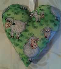 Easter Gift / Spring Time Lambs And Sheep Fabric Lavender Bag - Handmade
