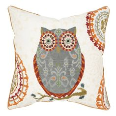 Bring a touch of folk art-inspired style to your decor with this lovely cotton pillow, showcasing an owl motif and suzani medallion details.