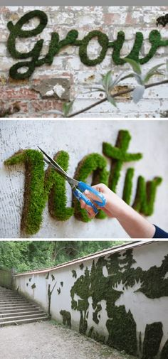 Awesome DIY Outdoor Projects To Make Your Backyard More Fun Make your own moss graffiti Backyard Projects, Outdoor Projects, Moss Graffiti, Stone Edging, Corner Plant, Garden Trellis, Outdoor Gardens, Garden Design, Make It Yourself