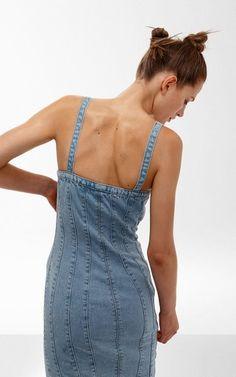 Kayla Fitted Denim Dress By Rotate   Moda Operandi