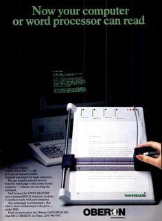 Oberon Omni-Reader ad,  April 1985