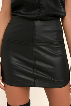 971222938d The Gentle Fawn Maze Black Vegan Leather Mini Skirt is simply