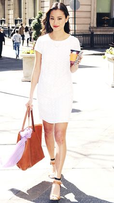 Jamie Chung was snapped on a coffee run in a pretty white eyelet Banana Republic shift that she styled with caramel accessories.