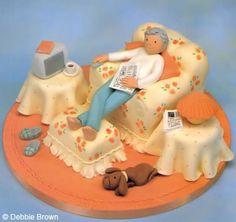 Party Cakes 90th Birthday Cakes, Novelty Birthday Cakes, Novelty Cakes, 80 Birthday, Bed Cake, Grandma Cake, Cake Design Inspiration, Fantasy Cake, Retirement Cakes