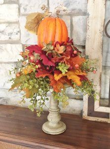 * *******This if for the arrangement only. It does not include the candlesticks, vase or little pot******* DESCRIPTION> The arrangement itself measures approximately across and high. Pumpkin Arrangements, Fall Flower Arrangements, Thanksgiving Centerpieces, Thanksgiving Salad, Thanksgiving Crafts, Autumn Decorating, Fall Table, Fall Wreaths, Advent Wreaths