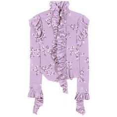 Vetements Ruffled Floral-Printed Jersey Blouse (27 000 UAH) ❤ liked on Polyvore featuring tops, blouses, vetements, purple, jersey top, purple jersey, pink floral blouse, flutter-sleeve top and floral blouse