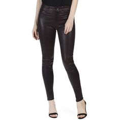 Women's Paige Hoxton High Waist Ankle Skinny Leather Pants ($975) ❤ liked on Polyvore featuring pants, black cherry, paige denim, high rise trousers, leather pants, paige denim pants and high waisted leather pants