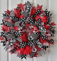 Valentine Deco Mesh Wreath by MrsLanderBoutique on Etsy