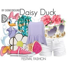 Disney Bound: Daisy Duck from Disney's Mickey Mouse and Friends (Festival Fashion Outfit) Disney Themed Outfits, Disney Bound Outfits, Disney Dresses, Disney Clothes, Cute Disney, Disney Style, Disney Ears, Disney Inspired Fashion, Disney Fashion
