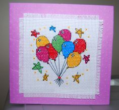 Birthday Balloons - cross stitched card