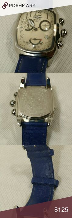 Invicta 2100 Lupah Chronograph This item has  no noticeable signs of wear on watch case.The strap shows some sign of wear (see pictures).It comes with manual and box.Watch is is fully functional. Invicta Accessories Watches