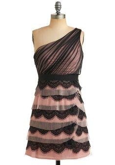 one-shoulder pink & black dress