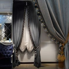 Luxury Europe style Italian velvet  curtains with valance  blackout thick solid curtains for bedroom  window treatments V-2206