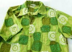 Vintage Mens Barkcloth Hawaiian Shirt