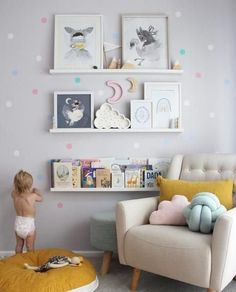 The cutest little nursery with such lovely wall decals to make you little girl or boys room a dream comfort with all of their favourites.