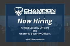 Apply today for security guard jobs and work for the best security guard company in the business! As a top quality security firm with locations all over the county, Champion National Security makes sure that we find exceptional talent and provide them with the best training available to advance in their future. #SecurityGuardJobs #SecurityJobs #SecurityOfficers #SecurityOfficerJobs #ArmedSecurityOfficers #UnarmedSecurityOfficers #ArmedSecurityGuards #UnarmedSecurityGuards