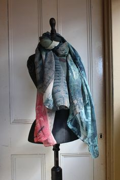 Postcard from Paris digitally printed silk scarf by MollysMaison, $90.00