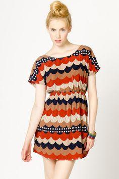 Scallop Print Dress